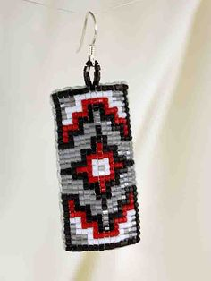 American Indian Jewelry, Red Beaded Leather Earrings