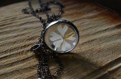 white flower necklace terrarium necklace real by ZokaKurylov