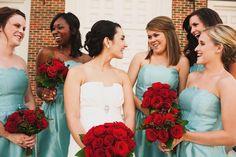 aqua and red wedding