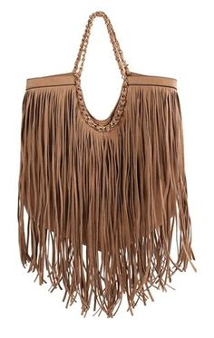 Deb Shops Large Fringe Handbag with Chain Wrapped Handle $25.50