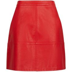 Red Leather-Look Mini Skirt (£20) ❤ liked on Polyvore featuring skirts, mini skirts, saia, bottoms, fake leather skirt, short mini skirts, imitation leather skirt, short red skirt and mini skirt