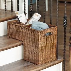 Elegant Step Basket   Stair Basket   Rattan Step Basket For The Home