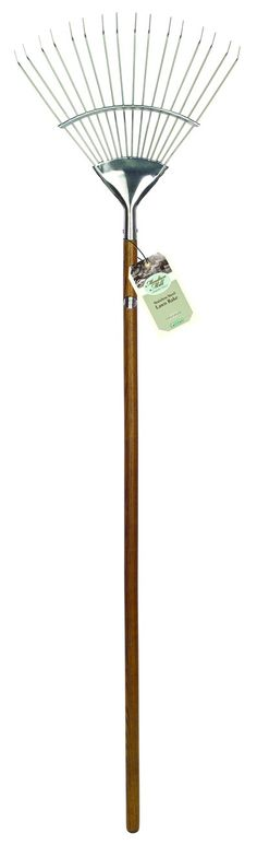 Beautifully crafted stainless steel long handled lawn rake. Makes light work of removing thatch and moss £24.99