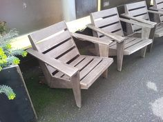cool modern adirondack chairs from outside a coffe shop in Edmonds, Wa