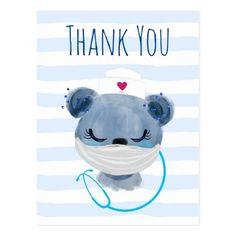 Cute Bear Nurse wearing a Mask Thank You Postcard diuretics nursing, precautions nursing, electrolyte imbalances nursing #nursingfromwithin #nursinggrad #nursingschool, back to school, aesthetic wallpaper, y2k fashion