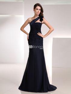 Elegant Dark Navy Chiffon Rhinestone One-Shoulder Womens Evening Dress. Elegant Dark Navy Chiffon Rhinestone One-Shoulder Womens Evening Dress. See More One Shoulder at http://www.ourgreatshop.com/One-Shoulder-C968.aspx