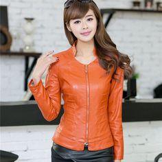 2016 New Stand Collar Slim Women's Leather Jackets Fashion Sexy PU Leather Jacket for Women Jaqueta de Couro Feminina, CB016