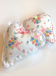 Excited to share this item from my #etsy shop: Handmade stuffed heart pillows, mini pillows, vintage fabric, cottage chic, Valentine's Day gift