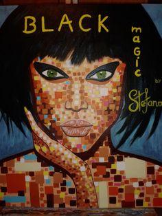 Stefano:by Black Magic /acrylic color on canvas/ fashion art Tyra Banks