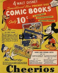 Cheerios cereal (back of the box) Disney's Pluto, Mickey, Donald c. Cheerios Cereal, Kids Cereal, Cereal Boxes, Vintage Advertisements, Vintage Ads, 1950s Ads, Disney Duck, Walt Disney, Baby Boomer
