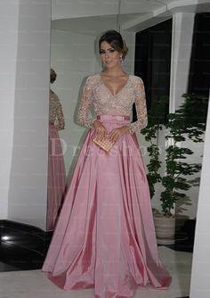 Online Sale Full/Long Sleeve Beaded Zipper V-neck Prom Dresses - Plus Size Prom Dresses - Prom Dresses - Special Occasion Dresses - Dresshopau.com