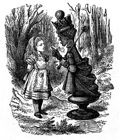 Alice and the Red Queen.  Lewis Carroll, art by John Tenniel