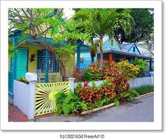 Free art print of Colorful Key West Cottages. A row of wood frame cottages on a quaint street in the old section of Key West, Florida Coastal Farmhouse, Coastal Cottage, Coastal Homes, Coastal Decor, Coastal Rugs, Coastal Bedding, Coastal Furniture, Small Cottages, Beach Cottages