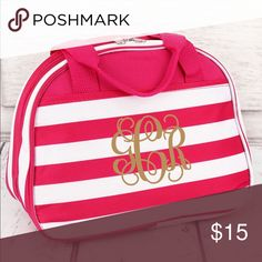 """INSULATED BOWLER STYLE LUNCH BAG Carry your lunch in style!  Can be monogrammed or personalized. (Not included).  Microfiber Construction Zip Closure Insulated Inside Outside Open Pockets Double Handles with 5"""" Drop 7.5"""" Tall x 10"""" Wide (Center) x 7"""" Wide (Bottom) x 4"""" Deep Bags"""