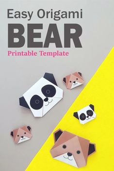 Adorable bear craft for children. Here are two easy origami bears for you. Print out the free template, and fold your grizzly brown bear, and a cute panda bear along the step by step video guide. Printable Activities For Kids, Indoor Activities For Kids, Printable Crafts, Toddler Activities, Preschool Activities, Printable Party, Printables, Animal Crafts For Kids, Easy Crafts For Kids