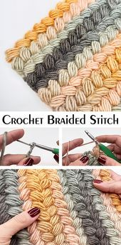 Braided Stitch Beautiful stitch for scarves, blankets and other stuff. Learn this technique with free tutorial.Crochet Braided Stitch Beautiful stitch for scarves, blankets and other stuff. Learn this technique with free tutorial. Yarn Projects, Knitting Projects, Crochet Projects, Crochet Stitches Patterns, Stitch Patterns, Knitting Patterns, Macrame Patterns, Free Knitting, Crochet Borders