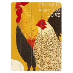 Plank-style wood wall decor with a rooster and hen motif.        Product: Wall decor    Construction Material: Solid...