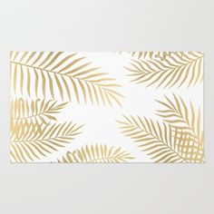 Gold palm leaves Area & Throw Rug