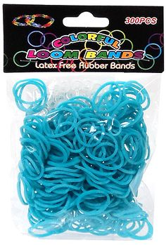Colorful Loom Bands 300 LIGHT BLUE Rubber Bands with 'S' Clips