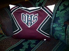 Senior Cheer gift....made from an old uniform and a pillow case (Not sure how happy i would be about cutting up my uniform, but it is cute!)