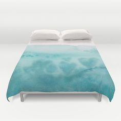 Aqua Teal Watercolor Duvet Cover or Comforter by ArtfullyFeathered