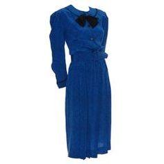 Albert Nipon Boutique Vintage Dress Pretty Silk Blue Dot Bow Pockets Size 10