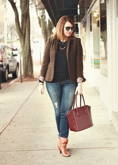 This is me.  Skinny Jeans + ankel boots + simple T + statement jacket + fun jewelry