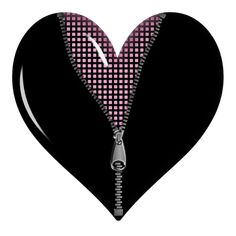 Black Zipped Heart PNG Picture