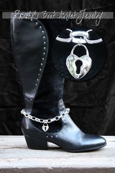 Boot Anklet Jewelry Large Silver Chain with Rhinestone Lock. $39.00, via Etsy.