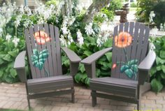 These hand painted Adirondack Chairs are truly stunning. Painted in a rich taupe with a wonderful pop of color - the orange flower really stands out and ads an elegant touch. What a statement to add to your front porch or yard! Chair is solid fir wood and painted with exterior paint. Detail is painted with acrylic and entire chair is sealed with exterior clear sealant.