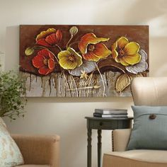Flower Painting Canvas, Canvas Wall Art, Colorful Wall Art, Wall Art Designs, Texture Painting, Art Pictures, Flower Art, Paintings, Palette Knife Painting