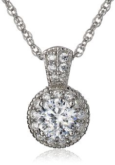 Platinum-Plated Sterling Silver 'Clarion' Round Cubic Zirconia Pendant Necklace ** Check out this great image  : Fashion Jewelry