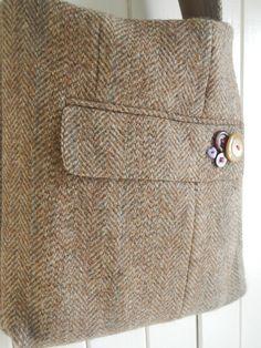 Repurposed Vintage Harris Tweed Tote Purse via Etsy.