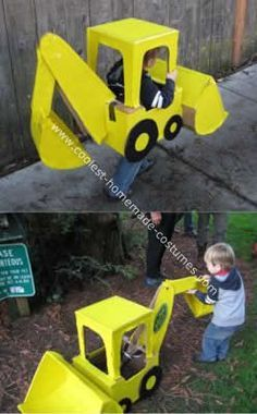 Homemade Child's Backhoe Costume: My son loves construction trucks and backhoes are his favorite by far. Of course that's what he wanted to be for Halloween. We scoured the internet and