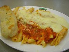 Sbarro's Baked Ziti Recipe Main Dishes with pasta, ricotta cheese, grated romano cheese, roasted garlic, black pepper, shredded mozzarella cheese