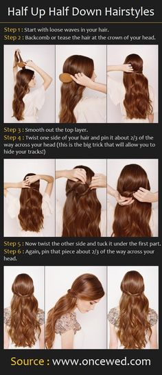 Half Up Half Down Hairstyle, can be dressed up or down! super quick and easy, great for days where you're low on time but want to look good.