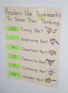 Thinkmark Anchor Chart. Reader's use thinkmarks to show their thinking.    Original idea from www.chartchums.wor... on Twitpic