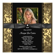Vintage Style Damask Invitations : Black Gold Damask Photo Graduation Custom Invitation by Invitation Central Graduation Announcements Wording, Graduation Invitation Wording, Invitation Paper, Custom Invitations, Party Invitations, College Graduation Parties, Graduation Gifts, Graduation Ideas, Black And Gold Invitations