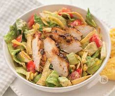 Smoky BBQ Chicken Salad Recipe | Grilled chicken salad recipe | Tastefully Simple Basic Chicken Salad Recipe, Bbq Chicken Salad, Chicken Salad Recipes, Healthy Salad Recipes, Perfect Grilled Chicken, Tastefully Simple Recipes, Paleo, Bbq Bacon, Dressing