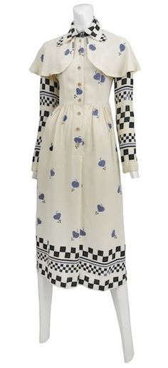 Ossie Clark crepe button up dress featuring Celia Birtwell print.