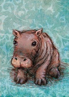 Little Hippo Baby Canvas Wall Art  By Oopsy Daisy
