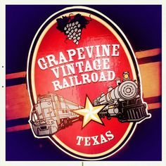 Grapevine Texas Vintage Railroad Sign, ride the vintage train to Fort Worth offered daily, and stay at #dochollidayhouse within walking distance of train station and Main Street.