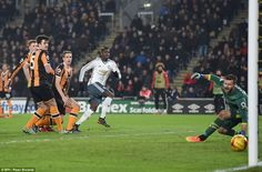 Pogba watches on as his toe-poked finish spins away from a helpless David Marshall in the Hull goal