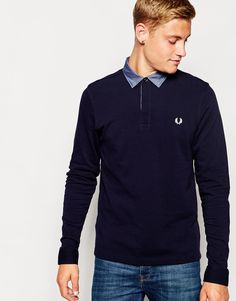 Fred Perry Long Sleeve Polo Shirt with Woven Trim in Navy - Blue