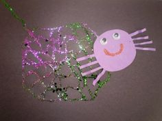 glitter spider webs for halloween from Jen of Creative and Curious Kids #weteach