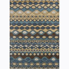 Artist's Loom Hand-tufted Contemporary Geometric Wool Rug (5'x7') (Gold), Blue, Size 5' x 7'