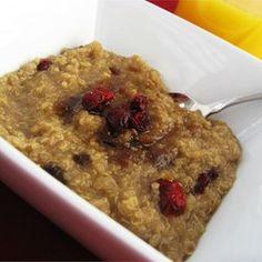 Quinoa Porridge - Gluten and Dairy Free - hot breakfast for cold winter mornings! Allrecipes.com