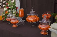 Candy display at an Orange and Brown Wedding #wedding #candy