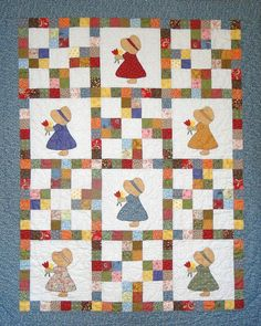 """This is a wonderful memory for me.  My grandmother made me one of these """"Sunbonnet Sue"""" quilts."""