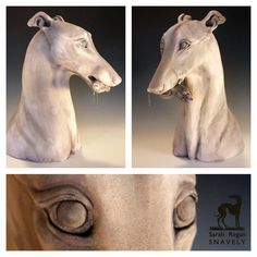 Faith in my Lucky Rabbit's Foot - Clay sculpture of a Greyhound dog holding a rabbit's foot in her mouth. Sarah Regan Snavely. Roughly 18 inches tall. #claysculpture #Sarah Regan Snavely #greyhoundart